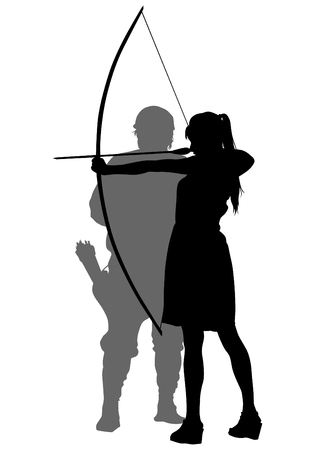 Silhouette of a girl with bow on white background