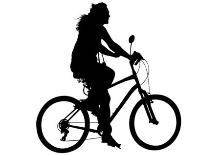whit: Sport women whit bike on white background Illustration