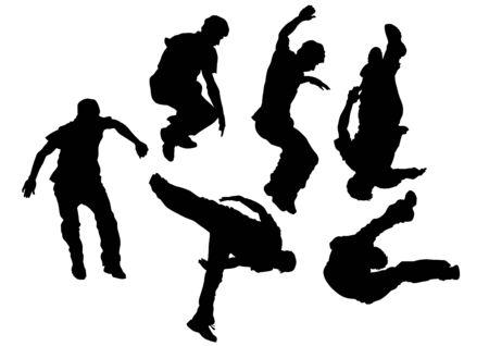 hombre cayendo: El hombre joven en un salto en el bakground blanco