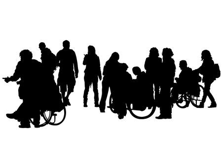 paraplegico: Siluetas de sillas de ruedas y las mujeres en el fondo blanco Vectores