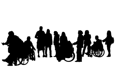 physical impairment: Silhouettes wheelchair and women on white background
