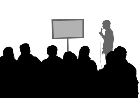 university students: Crowd and speaker at presentation in office on a white background Illustration