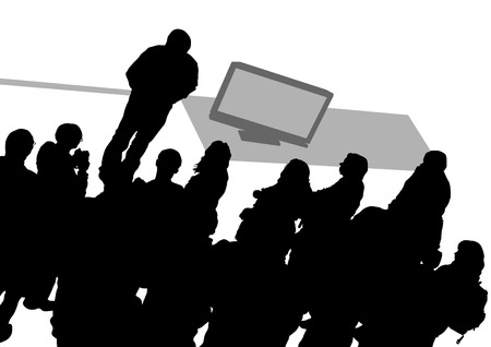 Crowd and speaker at presentation in office on a white background Çizim