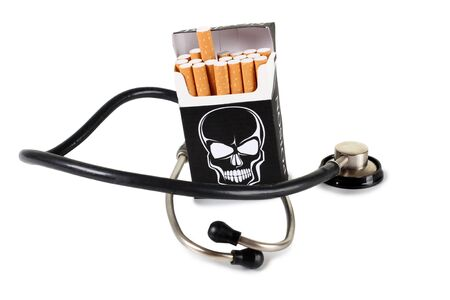 box: Box of filter cigarettes on white background