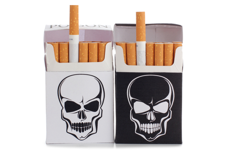pernicious habit: Box of filter cigarettes on white background