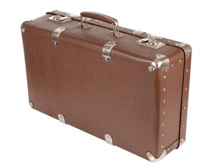 maletas de viaje: Vieja maleta retro en el fondo blanco Foto de archivo