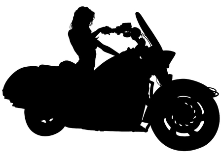 Silhouettes of motorcycl and baeuty women on white background