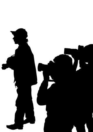 paparazzi: Man with a camera on white background Illustration
