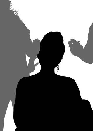 maquillage: Silhouettes of young girls in beauty salon