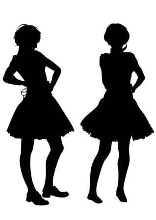 spectators: Young girls in dress on white background