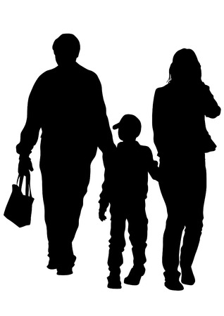 woman walk: Families people with little child on white background