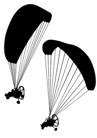 MOTORIZADO: Deportista en un parapente motorizado sobre un fondo blanco