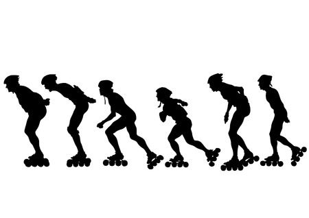 roller skate: Silhouette of boy on roller skates on white background