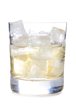 barware: Glass cup of whiskey on white background