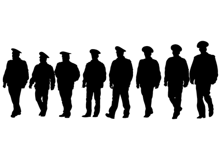security officer: People of special police force on white background