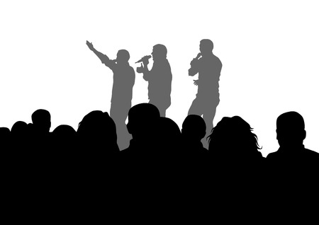 hip hop dance: Musicians style of rap on white background