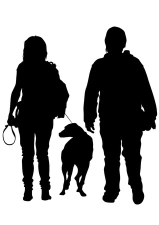 leash: Silhouettes of man with a dog on a leash on a white background