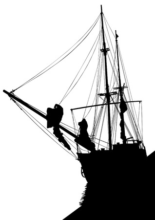 filibuster: Silhouette of sailing ship on white background