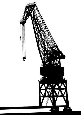 crane tower: Silhouettes of cargo cranes in the seaport on white background Illustration