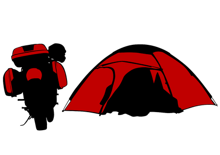 Motorcycl and tent on white background