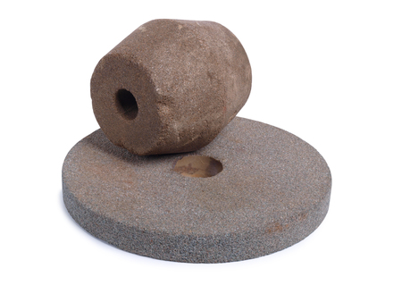 sharpening: Stone for sharpening knives on a white background