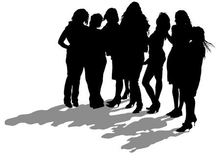 siluetas de mujeres: Chicas jóvenes en el vestido en el fondo blanco Vectores