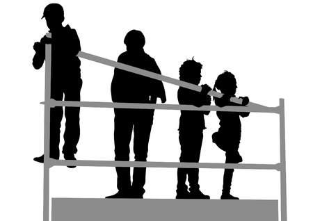 brother and sister: Silhouettes of a little girl and boy on a white background