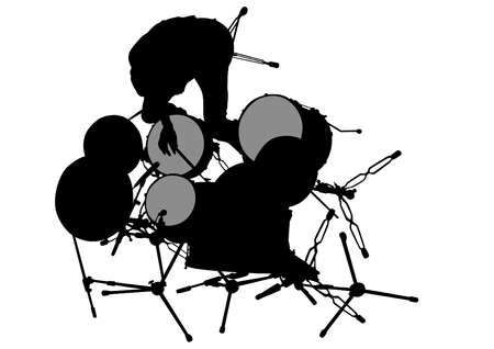 drum kit: Drum kit for rock band on a white background