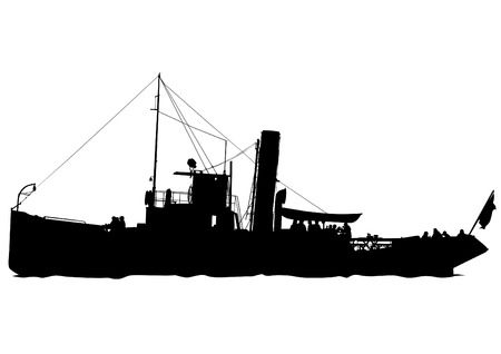 filibuster: Silhouette of retro ship on white background
