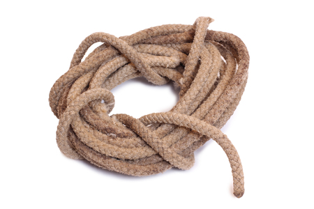 tether: Coil of rope on a white background Stock Photo