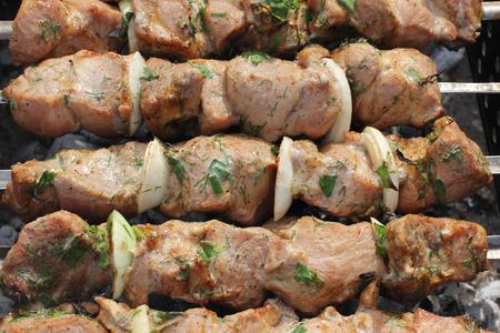 shish: Shish kebab on hot grill Stock Photo