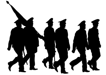 soldat silhouette: Soldier in uniform with flag on white background Illustration