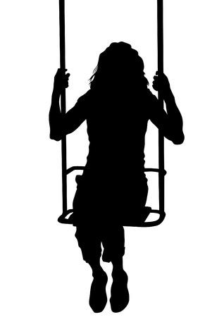 columpio: Mujer joven en un columpio en un fondo blanco