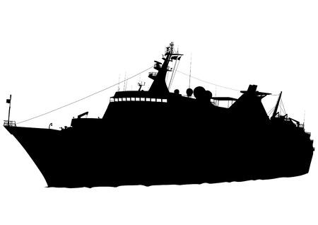 frigate: Silhouette of retro ship on white background