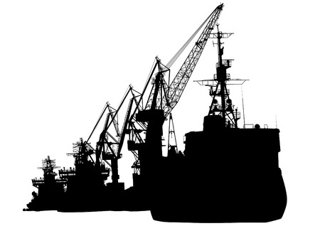 Silhouettes of cargo cranes in the seaport on white background Illustration