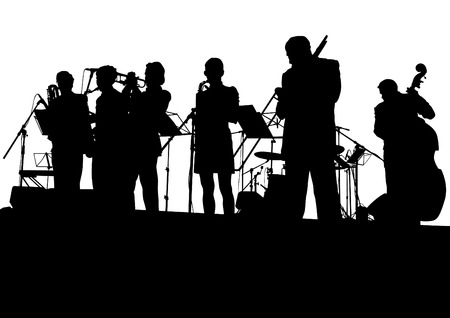 festival people: Concert of jazz music on white background Illustration