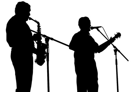 men and woman: Concert of jazz music on white background Illustration