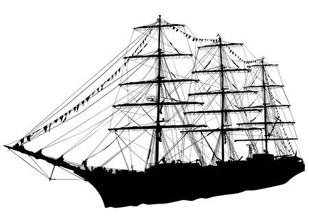 battleship: Silhouette of sailing ship on white background