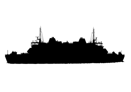 brigantine: Silhouette of big ship on white background