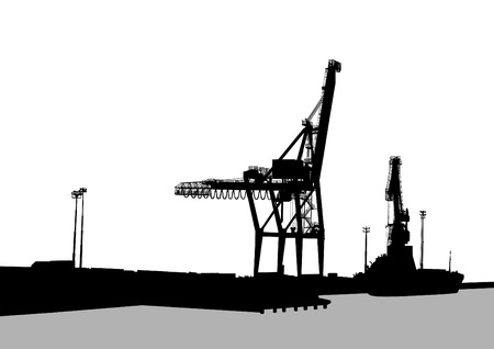 overhead crane: Silhouettes of cargo cranes in the seaport on white background Illustration