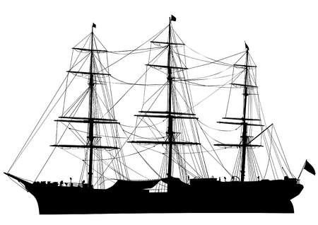 Silhouette of big ship on white background
