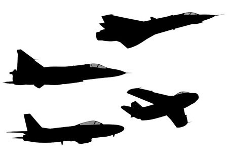 military aircraft: Silhouettes of military aircraft on a white background