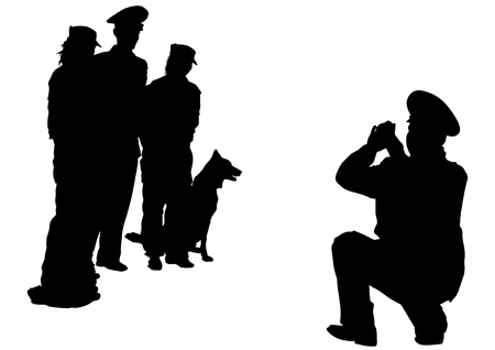 military girl: Silhouettes of man with a dog on a leash on a white background