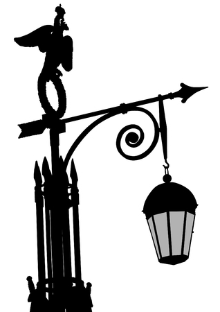 victorian fence: Ancient lantern on a white background Illustration