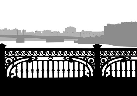 victorian fence: Old cast-iron fence on the bridge on white background