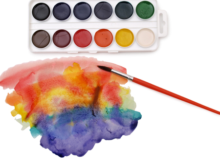 vibrant paintbrush: Watercolor brushes in a white box
