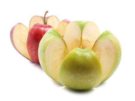 unpeeled: Fresh cute apple on white background