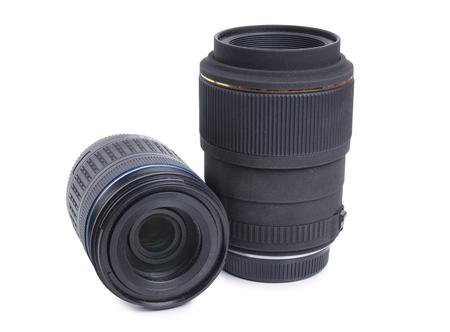 Photographic lenses on white background Stock Photo