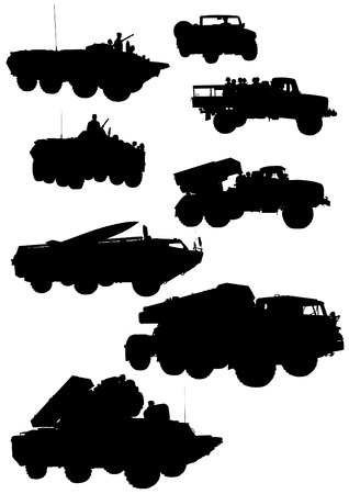 tactical: Armored car with gun on white background Illustration