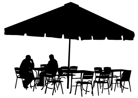 Sagome di persone nelle aree urbane cafè Archivio Fotografico - 50990483